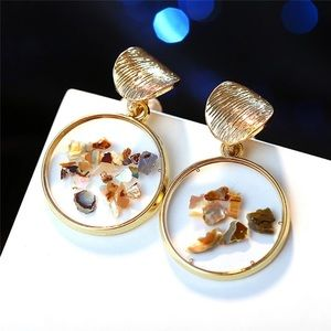 Gold Round Acrylic Shell Earrings